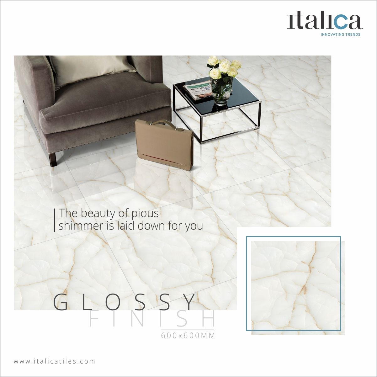 The Beauty of pious shimmer is laid down for you #italica #tiles ...