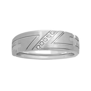 Jcpenney.com | Mens Diamond Accent Cross Stainless Steel 8mm Wedding Band