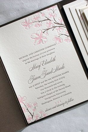 Sakura Cherry Blossom Letterpress Wedding Invitations: Vibrant Letterpress  Printing, Elegant Design, Bands Of Colorful Latticework : Invitations  Design ...