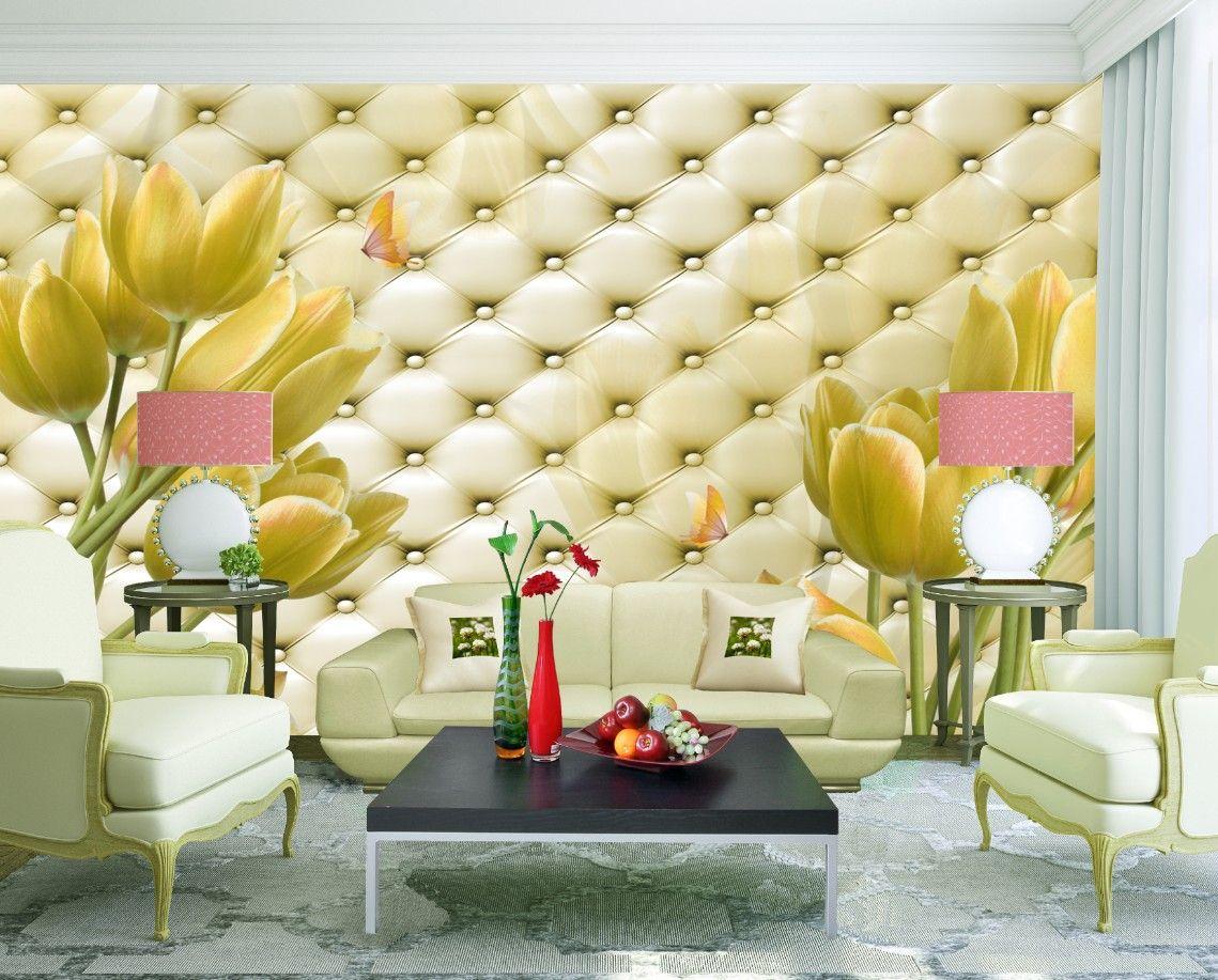 Romantic Tulips Dancing on Soft Roll Wallpaper 3D Wall Mural Rolls ...