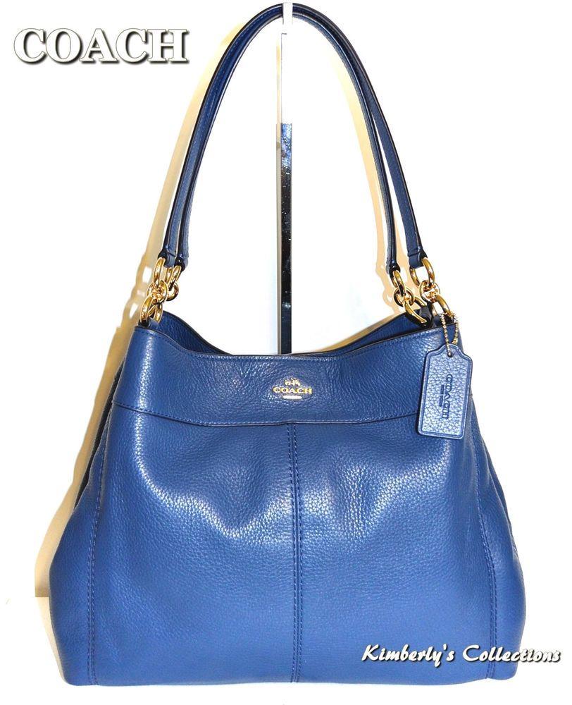 COACH Lexy Leather Shoulder Satchel Bag Purse Marina Blue NWT  Coach   ShoulderBagSatchelbag c15c5f6f93194