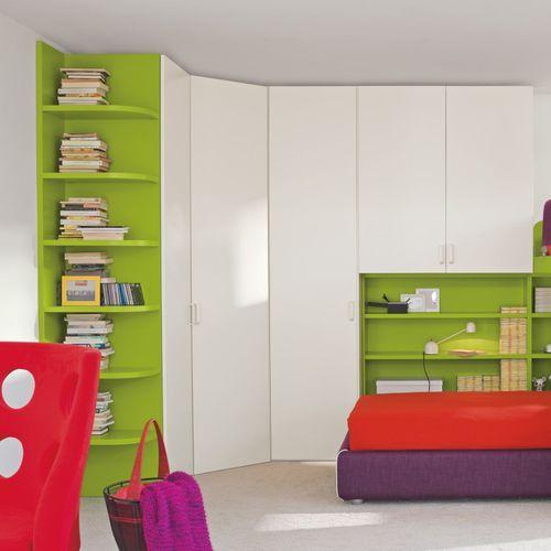 Armoire de chambre d 39 angle contemporaine en bois - Armoire porte battante ...