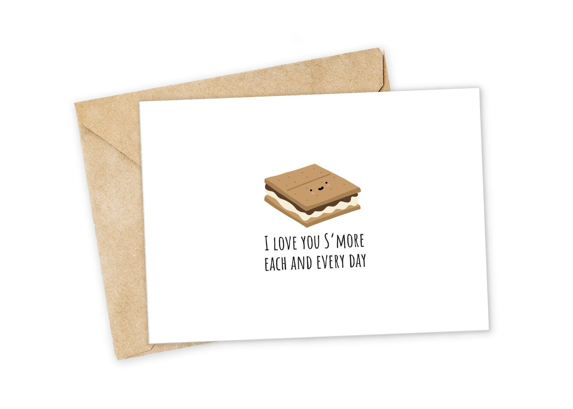 I Love You Smore Each Day S Mores Greeting Card I Love Etsy In 2021 Cards For Boyfriend Punny Cards Nerdy Puns