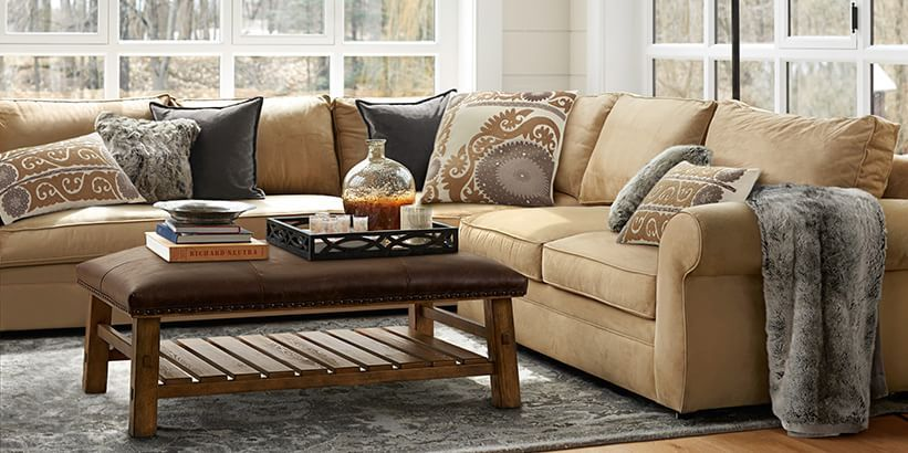 Pearce Sofa Collection U0026 Sleeper Sofas | Pottery Barn  Blanket And Gray  Pillows For Back LR?