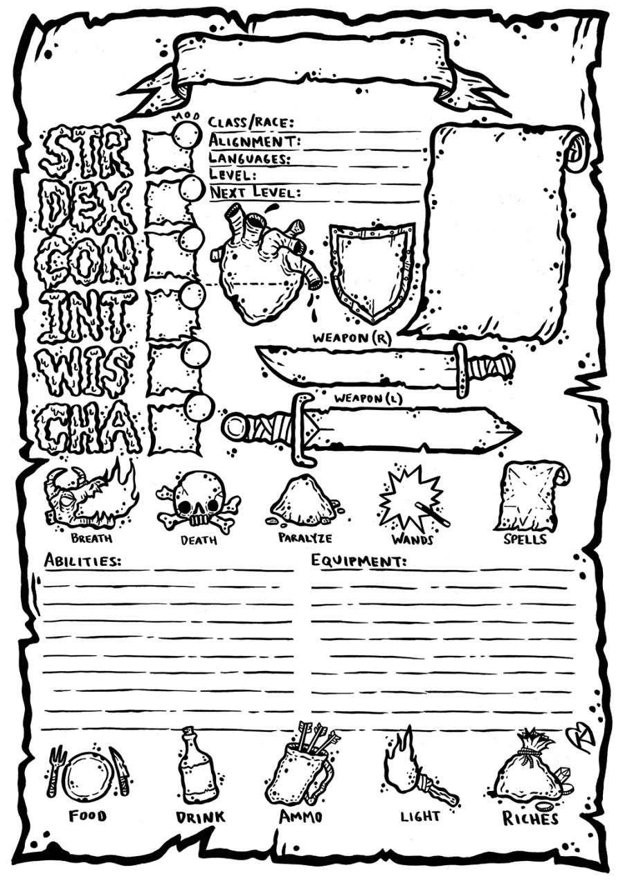 OSR Character Sheet - Karl Stjernberg | DriveThruRPG com in
