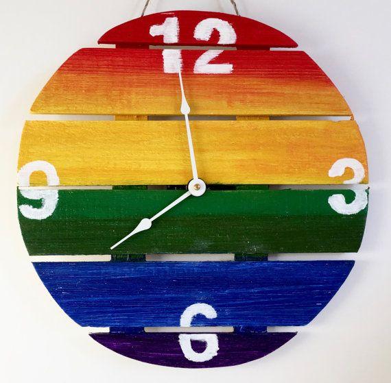Home Decor Wall Clocks Rainbow Flag Gay Pride Wall Decor Rustic Furnitureu2026