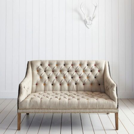 Marvelous Bath Button Back Two Seater Sofa With Colored Buttons Eclectic Sofas