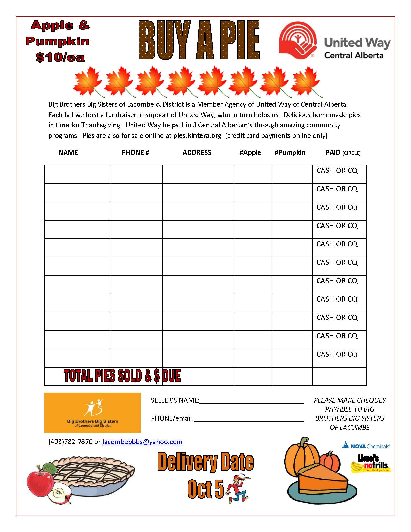Pie Fundraiser Order Form  United Way Days  Big Brothers Big