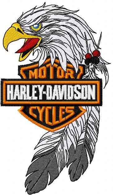 harley davidson eagle logo embroidery design embroidery designs rh pinterest com