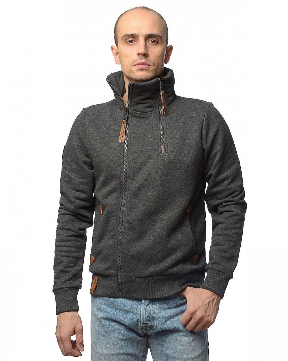 2bcfcbcd050da купить Толстовка мужская на молнии Naketano Du Aff Full-Zip Sweatshirt  Anthracite в Москве