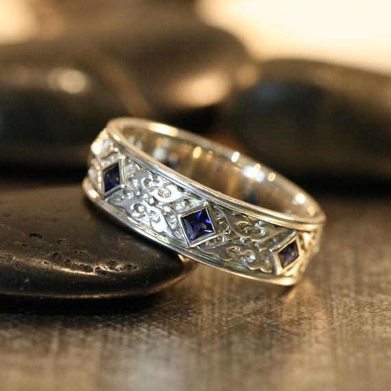 Celtic Wedding Band Princess Cut Sapphire Wedding Ring 14k White Gold Mens Sapphire Ring Celtic