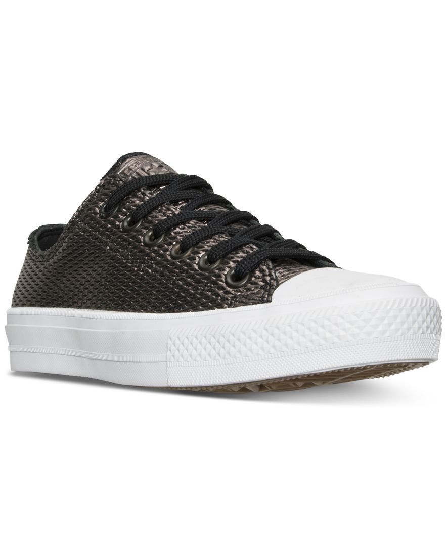 0609d812d4f6 Converse Women s Chuck Taylor Ii Ox Perf Metallic Leather Casual Sneakers  from Finish Line