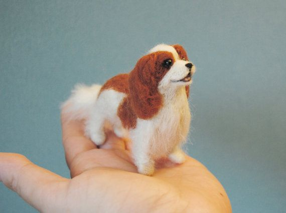 Cavalier King Charles Spaniel Little Dollhouse Puppy Needle Felt Dogs Felt Animals Cavalier King Charles
