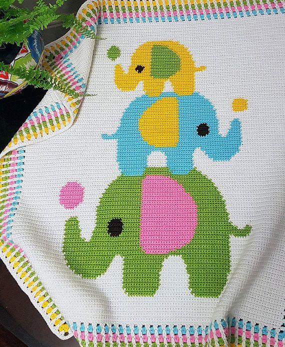 CROCHET Pattern - Baby Blanket Pattern - Three Elephants - Crochet ...