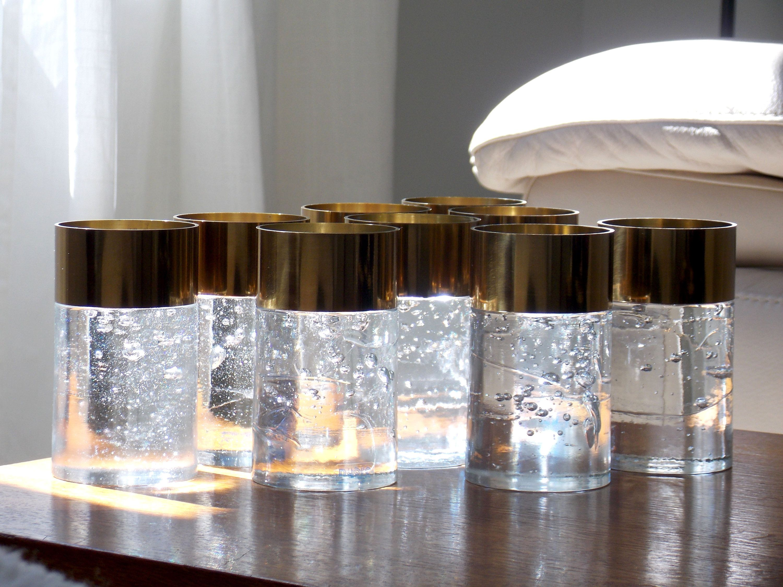 Nybro Sweden Candleholder Scandinavian Gold Votive Rune Strand Mid Century Brass Swedish Art Glass 1970s Candle Holders Glass Candle Holders Glass Candlesticks