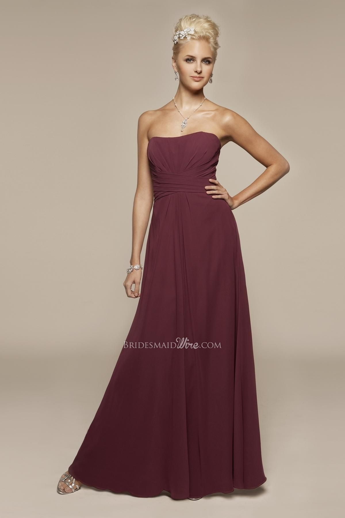 Strapless dark magenta chiffon aline long bridesmaid gown