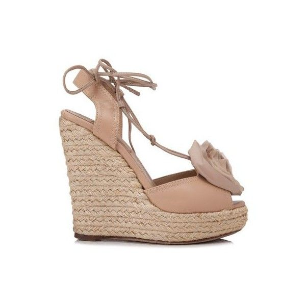 Pre-Owned Valentino Garavani Rose Wedges (24.580 RUB) ❤ liked on Polyvore featuring shoes, brown, brown wedge shoes, wedge shoes, brown platform shoes, wedge sole shoes and platform wedge shoes
