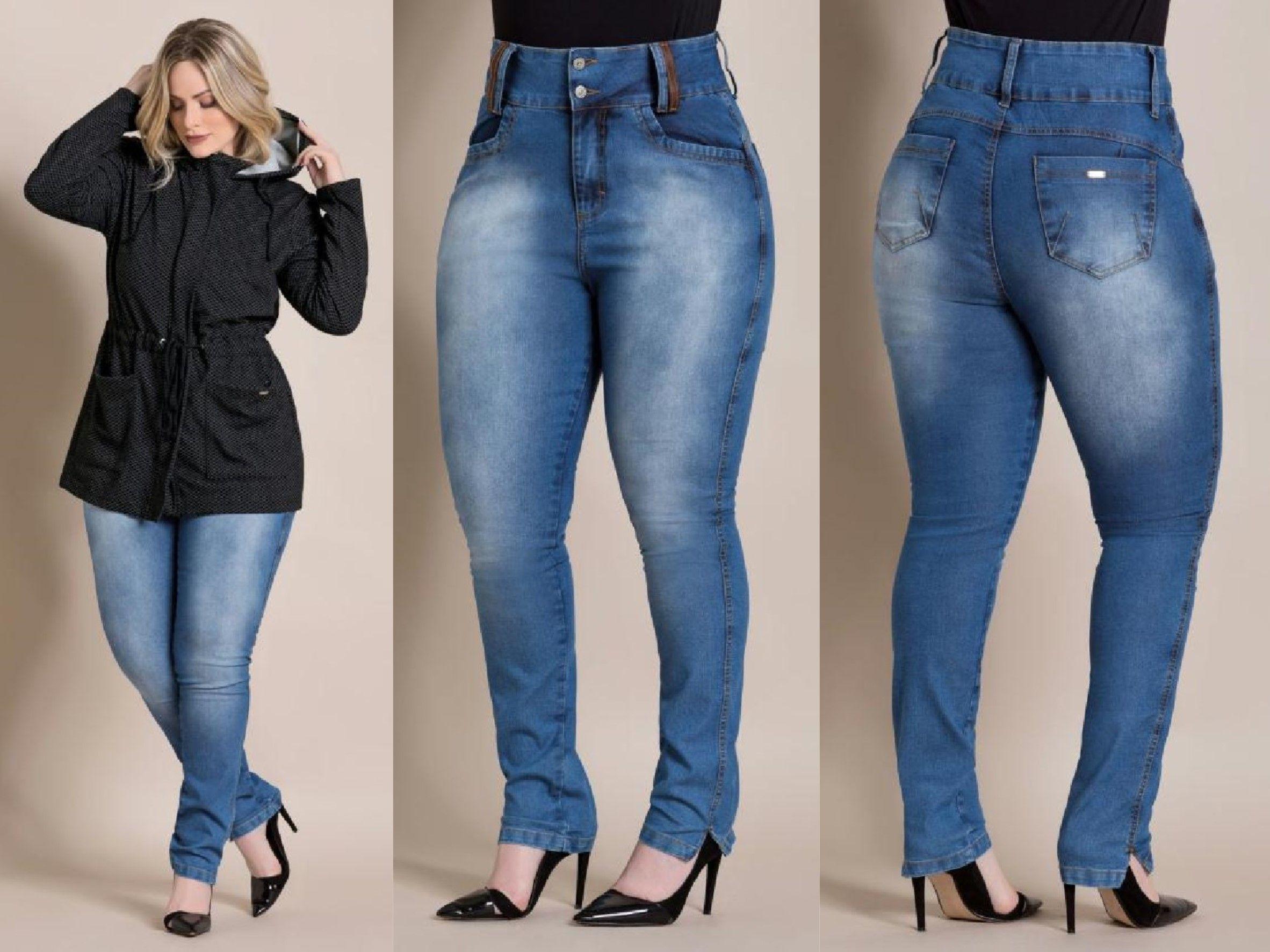 37a08ed47 LIQUIDAÇÃO ✂ DE OUTONO Calça jeans cintura alta Plus Size. De R$ 159