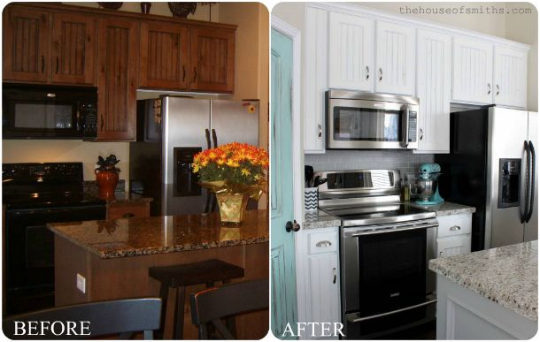 Painting Cabinets White Can Make A Huge Difference. (They Also Did New  Backsplash And