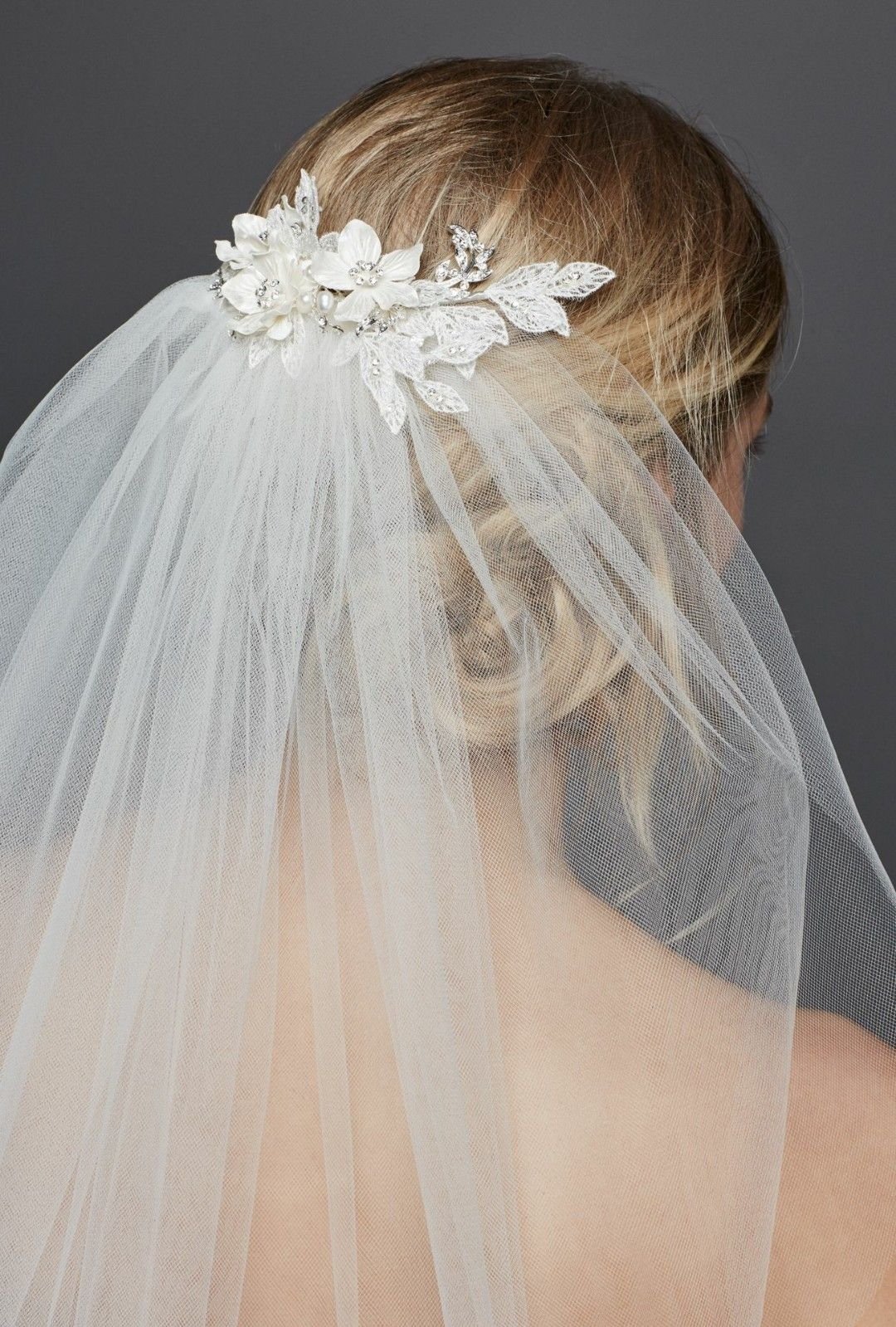 Shoulder Length Full Volume Veil Featuring Floral Embellished Comb ...