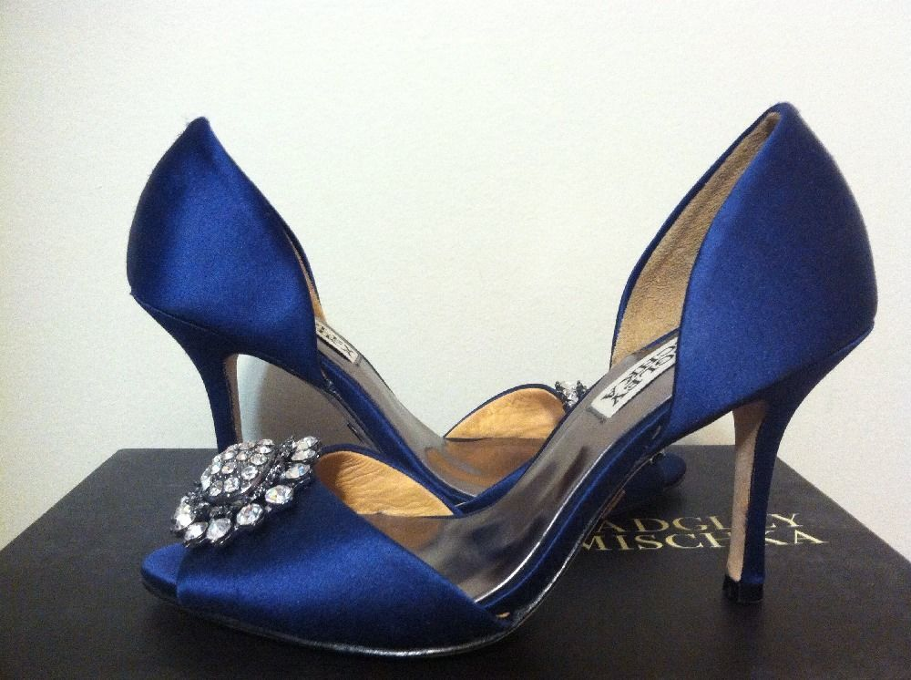 Badgley Mischka Lacie Navy Satin Dressy Evening Heels Pumps Size 5 M #BadgleyMischka #PumpsClassicsHeelsDressyEvening