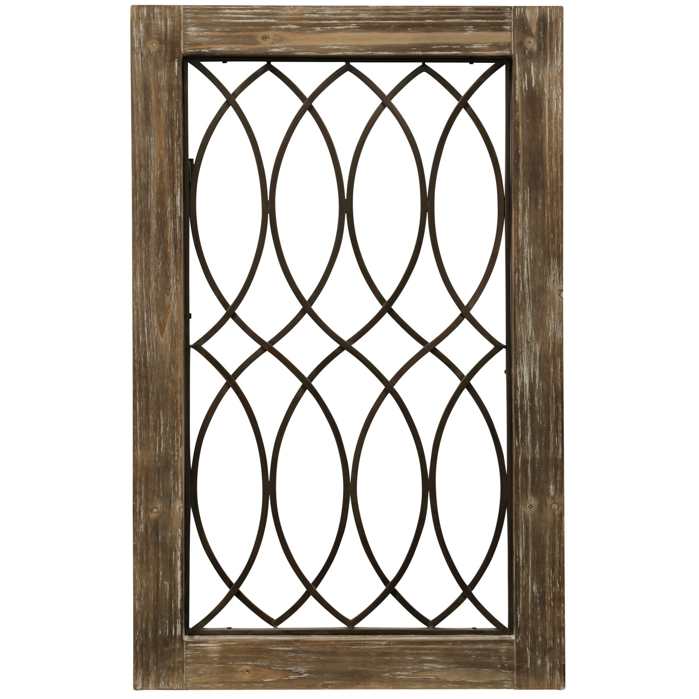 Woodland Imports D�cor Rustic Intricated Wall D�cor: Wood-Framed Metal Grate II Wall Décor, Beige(MDF)