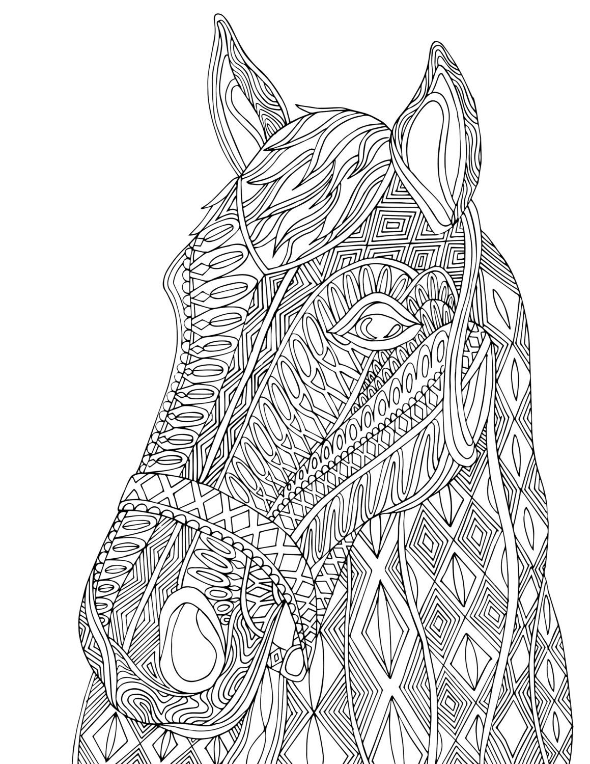 Horse Pdf Zentangle Coloring Page Therapy Coloring Etsy Horse Coloring Pages Animal Coloring Pages Horse Coloring