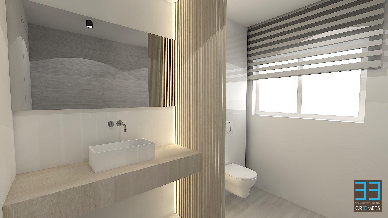 Modern badkamer ontwerp in wit en eik fineer. Spoelbak opbouw in ...