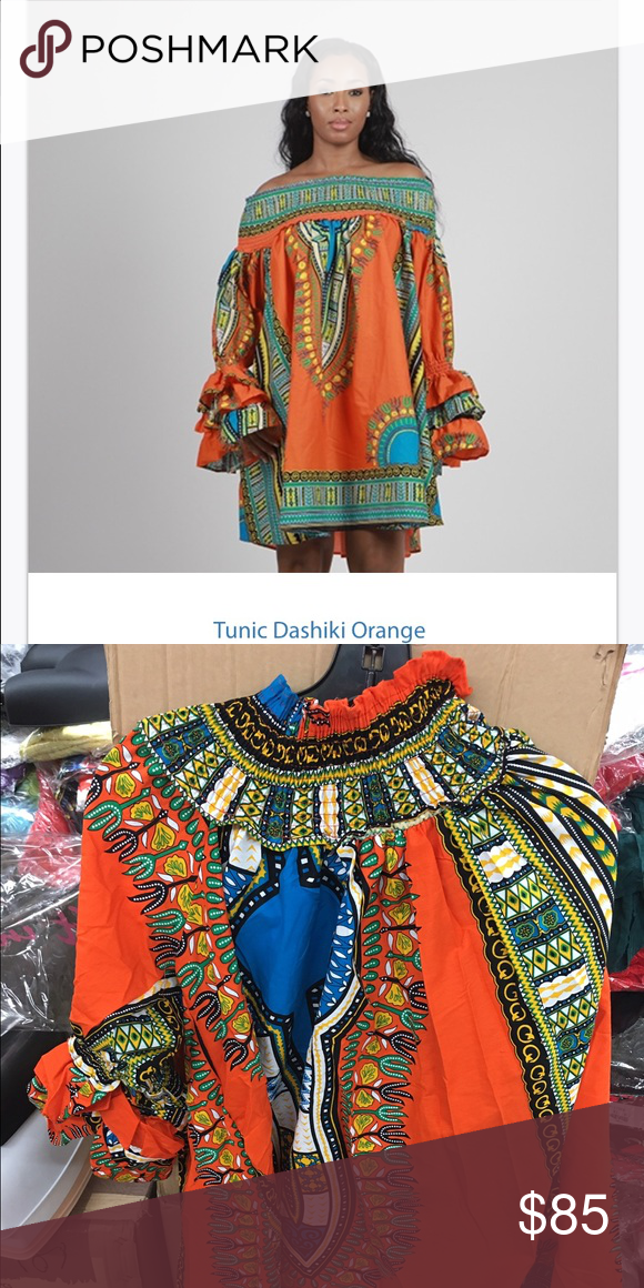a387007aa8e New Orange African print Dashiki dress Amazing African print off the  shoulder dress oversize tunic roomy and so cute Dresses Midi