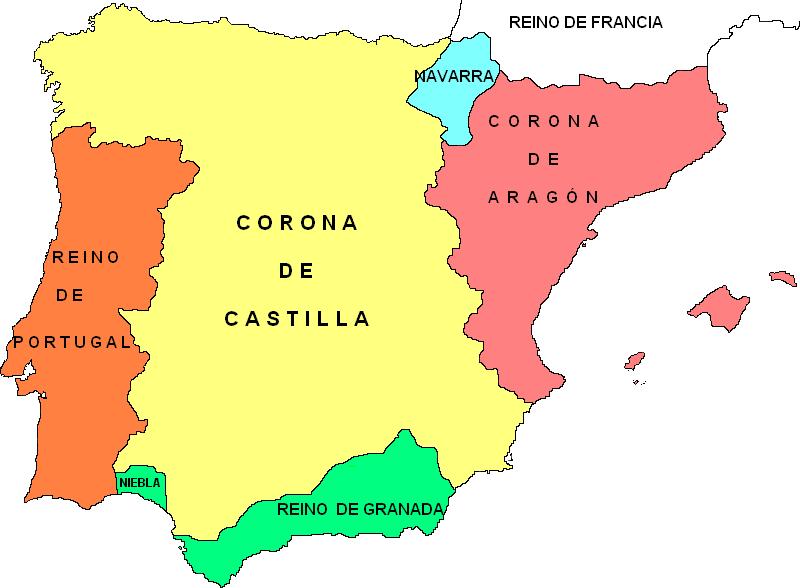 De Los Cinco Estados Existentes De La Península Ibérica Al Comenzar La Baja Edad Media P Mapa De España Conquista Y Colonizacion De America Historia De España