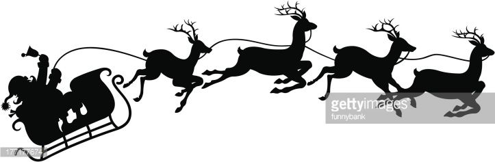 Drawing Of Vector Santa S Sleigh Silhouette Santa Sleigh Silhouette Santa Sleigh Childrens Christmas Crafts