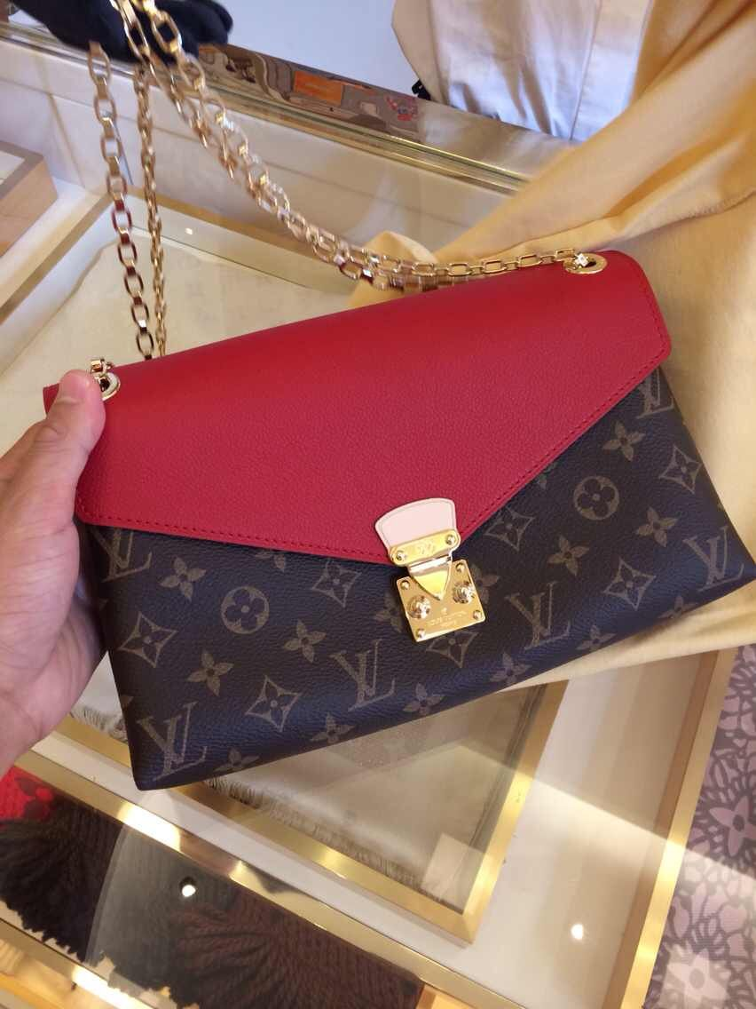 Authentic Louis Vuitton Monogram Pallas Chain Bag M41201 Red