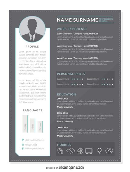 Flat resume mockup template in gray, white and blue Design has - contact details template