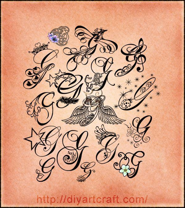 16 lettere stilizzate maiuscola g corsivo elegante e simboli per tattoo letter tattoo g. Black Bedroom Furniture Sets. Home Design Ideas