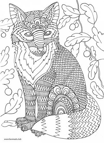 Fox Printable Adult Coloring Page  Zentangles  Adult Colouring