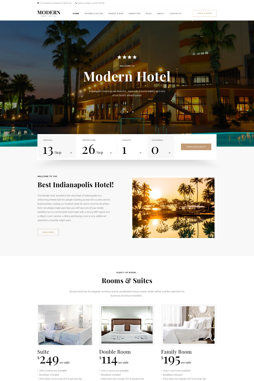 Modern Hotel Woods Responsive Multipage Website Template Hotel
