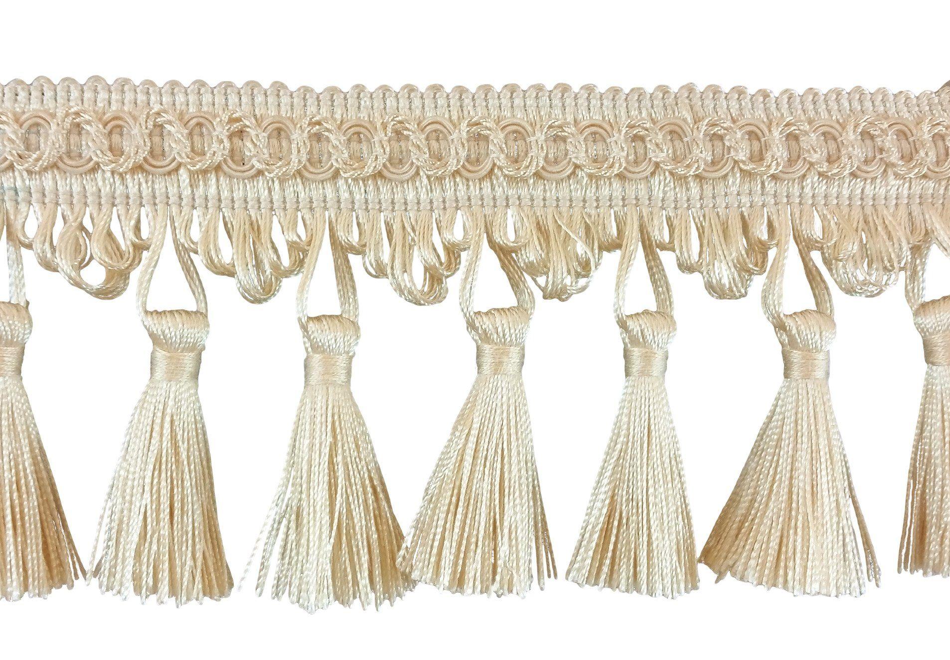 "Ivory Offwhite 9/"" Bullion Fringe Trim Victorian Silk By The Yard"