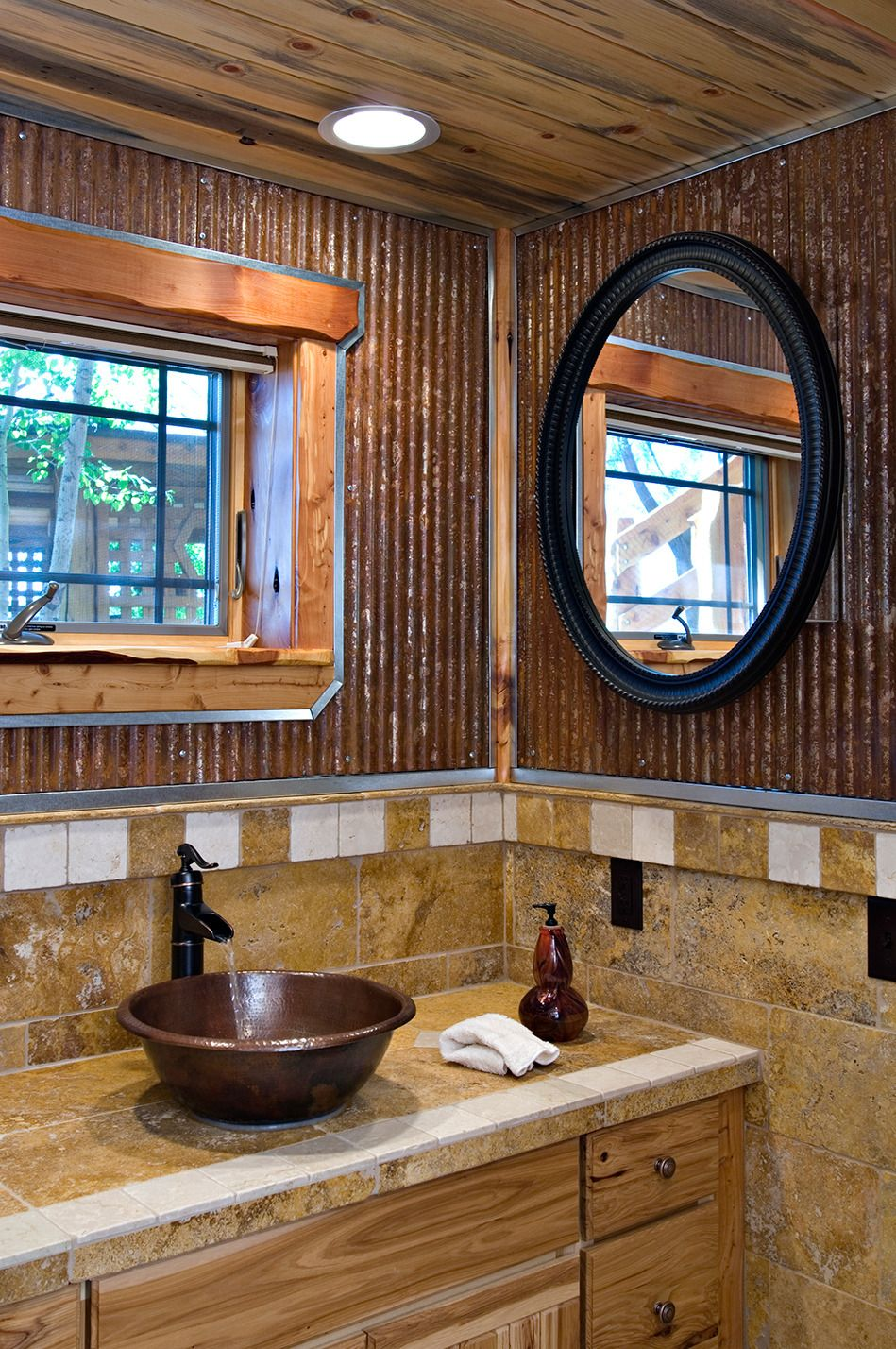 1 1 4 Corrugated Looks Great In This Rustic Bathroom