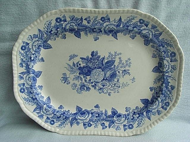 C1820 Spode Imperial Blue Transfer Pottery Meat Plate