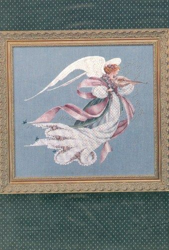 Angel of Spring Lavender and Lace Cross Stitch Pattern Victorian Art  | countrygarden - Patterns on ArtFire