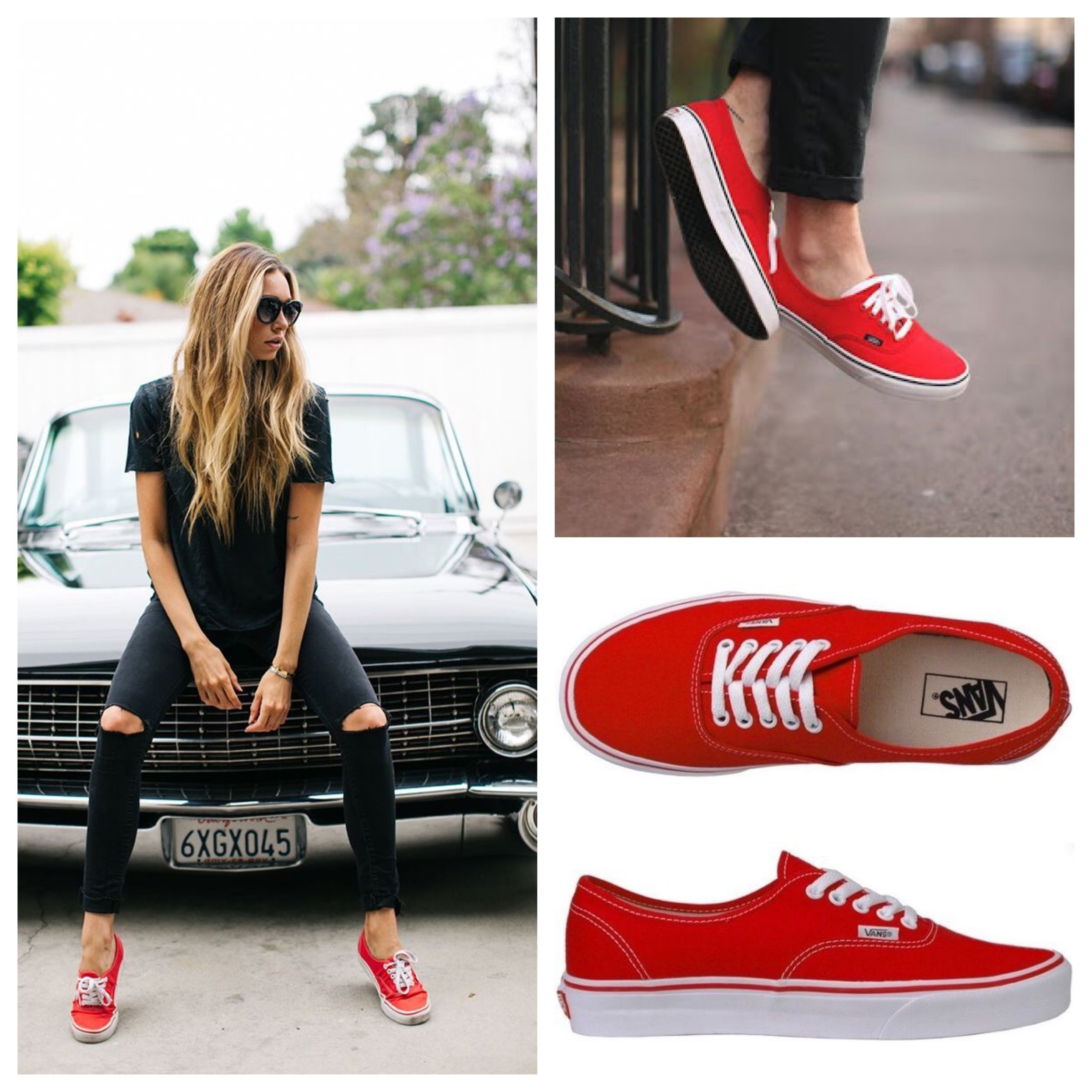 71fa32f132 Red Vans outfit idea. Casual.