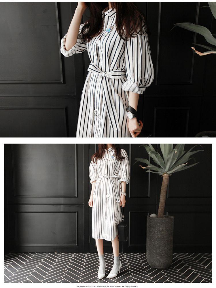 2016 a primavera eo verão moda Casual Bottoming vestido listrado solto vestido longo camisa doces senhoras meninas vestido de camisa em Vestidos de Moda e Acessórios no AliExpress.com | Alibaba Group