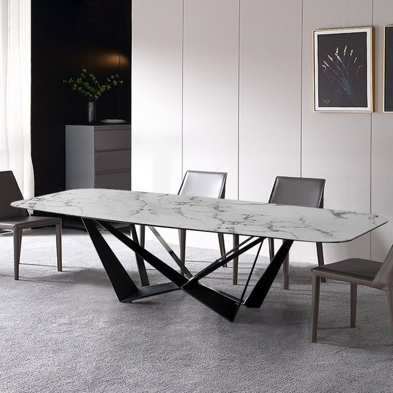 Modern Stylish Rectangle White Faux Marble Top Dining Table With Black Metal Base In Small Medium Large In 2021 Marble Top Dining Table Dining Table Marble Faux Marble Dining Table