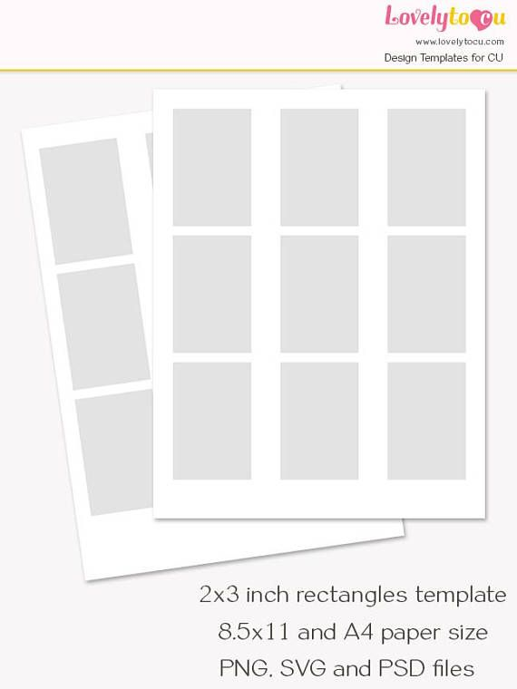 2x3 Inch Rectangles Template Collage Sheet Printable Card Collage Sheet Printable Cards Rectangles