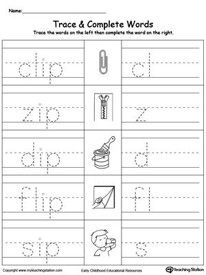 IP Word Family Trace and Write Worksheet. | Word Family Worksheets ...