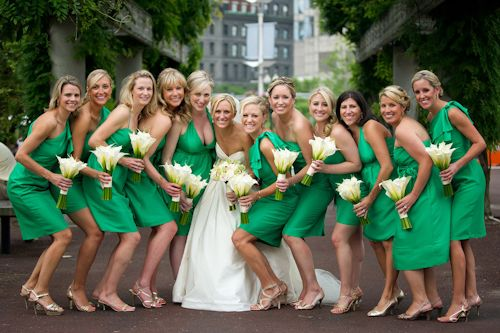 different style dresses, champagne colored shoes to match your dress, and hints of yellow in the flowers.