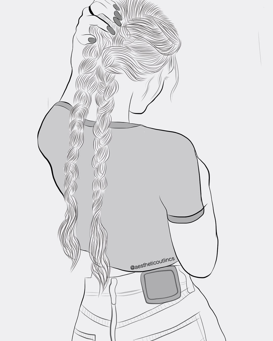 tumblr, outline, tumblr outline, idea, girl, illustration, drawings, art