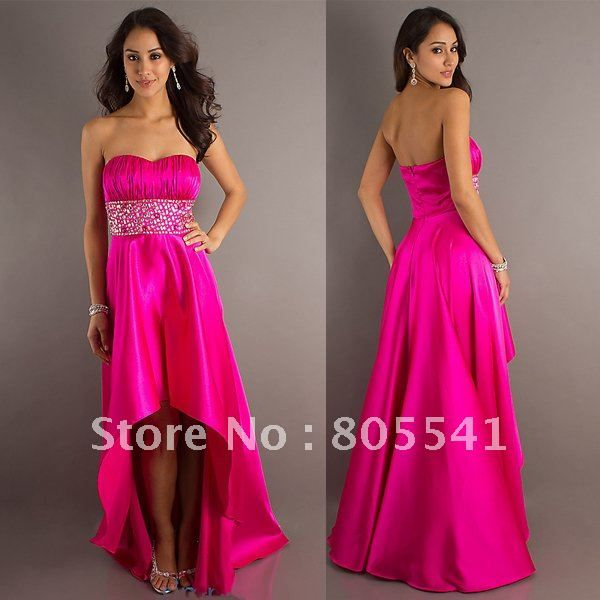 Be cool if they came all short..hot pink bridesmaids dresses ...