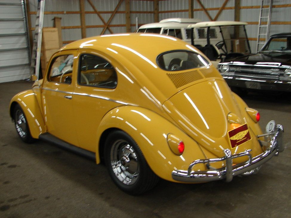 1956 Volkswagen Beatle Oval Window Restomod In Lovely Indigo Yellow With A Custom Two Tone Yellow Saddle Brown Volkswagen Beetle Volkswagen Bmw Classic Cars