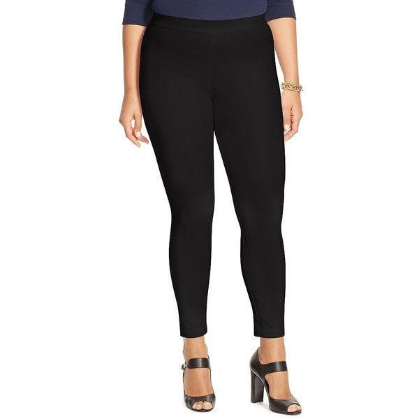 176ed15c7bd12 Lauren Ralph Lauren Plus Bi-Stretch Twill Leggings ( 100) ❤ liked on  Polyvore featuring plus size women s fashion